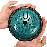 Qianyuyu Acero Tambor de la Lengua Tambor de Lengua de 5,5 Pulgadas de 6 Tonos Baquetas Percusión...
