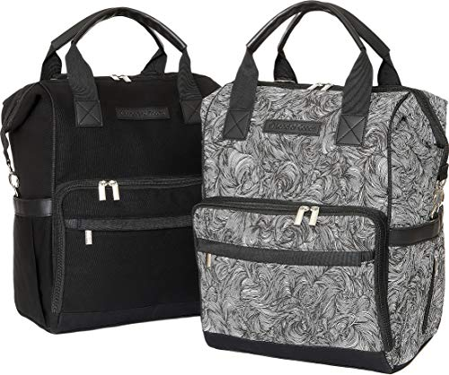 "Luxury Baby Diaper Bag Backpacks Matching Set with Waterproof Changing Mats, Stroller Straps, and 15 Compartments Each| Bag for Mom and Dad-Pack of 2 |""Timeless Maze"" by Land of Goods"