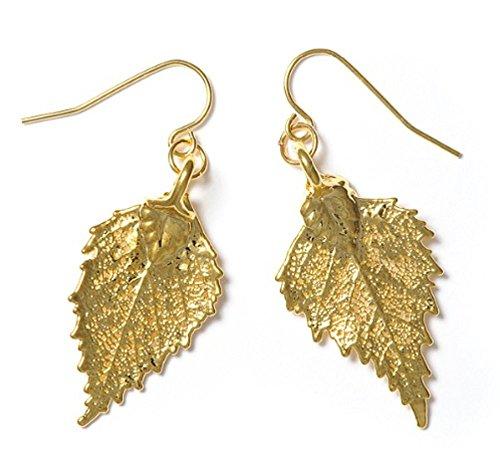 Pendientes de oro, hojas de abedul