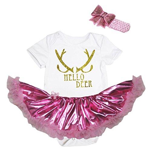 Petitebelle Glitter Goud Hello Herten Wit Bodysuit Bling Roze Tutu Set Nb-18m