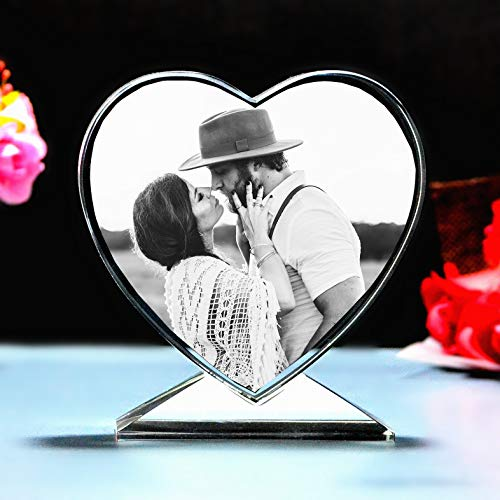 Custom crystal laser engraving picture - personalized heart-shaped...