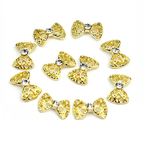10pcs 3D Crystal Rhinestone Alloy Bow Tie Nail Art Decoration Stickers DIY (Golden) by Broadfashion