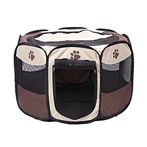 YUSENPET 28″ & 35″ Foldable Portable Pet Playpen Enclosures Exercise Pen Kennel Pet Yard 600D Oxford Cloth for Dog/Cat/Rabbit/Puppy
