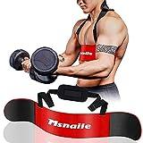 Msnaile - Bíceps de alto rendimiento para bíceps y tríceps de brazos, construcción corporal y crecimiento muscular, para levantamiento de pesas y mancuernas, soporte equilibrado (rojo)