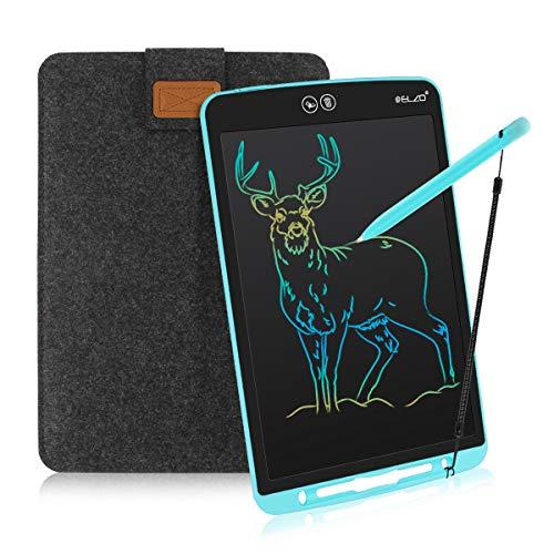 ELZO LCD Schreibtafel 12 Zoll, Schreibtafel Buntes Display Kinder Laptop für Notieren/Zeichnen, Optimaler Papierersatz, Kinderspielzeug ab 3 Jahre (12 Zoll, Blau & Schwarz)