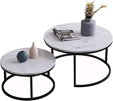Round Nesting Coffee Tables Set of 2, Wooden Desktop with Marble Texture End Tables for Living Room, Modern Side Coffee Table