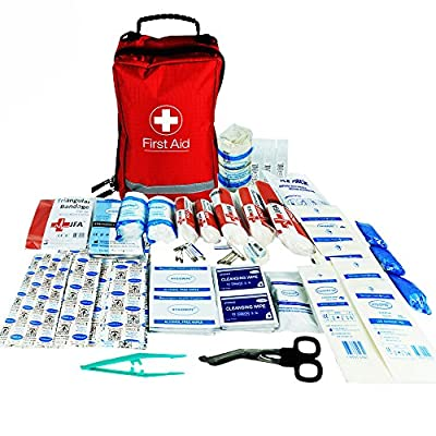 JFA 200 Piece Comprehensive First Aid Kit Bag – includes Emergency blanket, Ice pack, Wound closure strips, Saline, Tuff cut scissors, CPR shield, Bandages, Dressings, for Home, Work, Car, Travel by JFA Medical