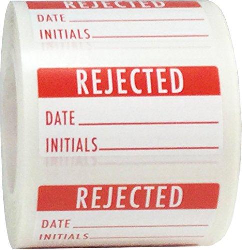 Etiquetas blancas y rojas rechazadas, 3/4 x 1 1/2 pulgadas de tamaño, 500 pegatinas adhesivas en un rollo