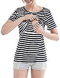 授乳服半袖ボーダーtシャツ夏服マタニティウェアトップス