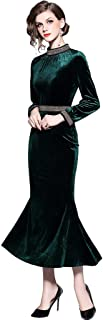 Ababalaya Women's Retro High Neck Chain Beads Long Sleeve Velvet Mermaid Evening Gown