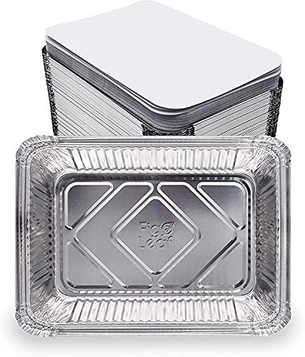 Lote de 100 bandejas de aluminio desechables con tapa para transportar alimentos, congelar, cocinar (500 ml)