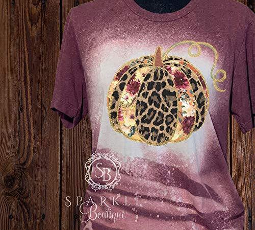 Fall Bleached Shirt Women's Tee Pumpkin with Flowers Distressed T Shirt