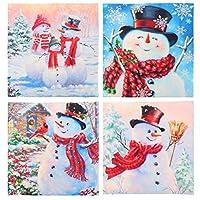 Cabilock 4ピースクリスマススロー枕ケース漫画雪だるまのテーマ装飾正方形枕カバーソファクッションカバークリスマスホリデーシーズンの装飾