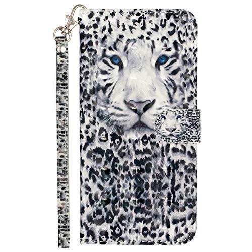 Blllue Funda tipo cartera compatible con LG V40 ThinQ, piel sintética pintada en 3D para LG V40 y LG V40 ThinQ, leopardo