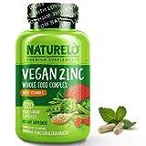NATURELO Vegan Zinc Whole Food Complex Supplement with Vitamin C, 120 Capsules