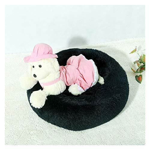 KEHUITONG PSWK Soft Long Llush Cama para Perro Gato Invierno Sofá cálido Sofá Colchón de casa para pequeños Perros de Mascotas Grandes perreras mullidas. (Color : Black, Size : 50cm)