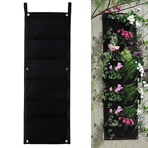 Demiawaking, fioriera in sospensione di tipo verticale, in poliestere, da appendere alla parete, adatta per giardinaggio, sale e ambienti interni, con 4, 6, 12 o 18 tasche, feltro, Black, 6-Pocket