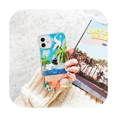 Para IPhone 12 11 Pro XS MAX X 7 XR SE2 8 6Plus moda océano Animal patrón verano pegamento transparente teléfono móvil Case-D para IPhoneXS