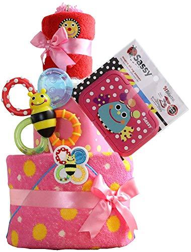 Sassy サッシー 出産祝い 3段 おむつケーキ 名入れ刺繍 歯固め ビタット Bitatto (ムーニーテープタイプLサイズ, ピンク)
