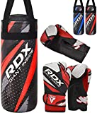 RDX Kids Punching Bag and Gloves for Training Boxing, Junior Filled Heavy Punch Bag Set for Youth Kickboxing, Grappling, MMA, Muay Thai, Martial Arts, Karate, BJJ and Taekwondo, Comes in 2FT