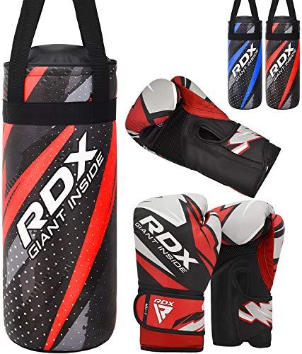RDX Kinder Boxsack und Boxhandschuhe Set, Gefüllt Heavy Sandsack für Boxen, Kampfsport Kickboxen, Muay Thai und MMA, Junior Training Handschuhe, Punchingsäcke Gewicht 2FT Punching Bag (MEHRWEG)