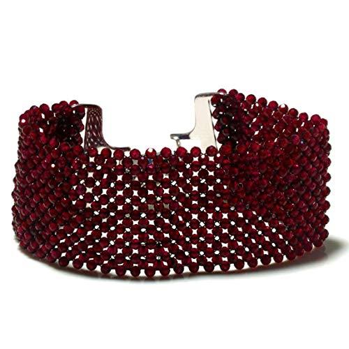 Pulsera de granate rojo, unisex, pulsera para hombre, pulsera de diseñador para mujer, regalo de boda, regalo de Navidad, pulsera de cuentas de granate, pulsera tejida con cuentas, cierre magnético