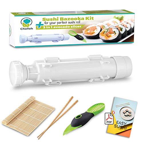 Chefoh All-In-One Sushi Making Kit | Sushi Bazooka, Sushi Mat & Bamboo Chopsticks Set + 3in1 Avocado Slicer | DIY Rice Roller Machine | Very Easy To Use | Includes Sushi Recipe PDF Booklet