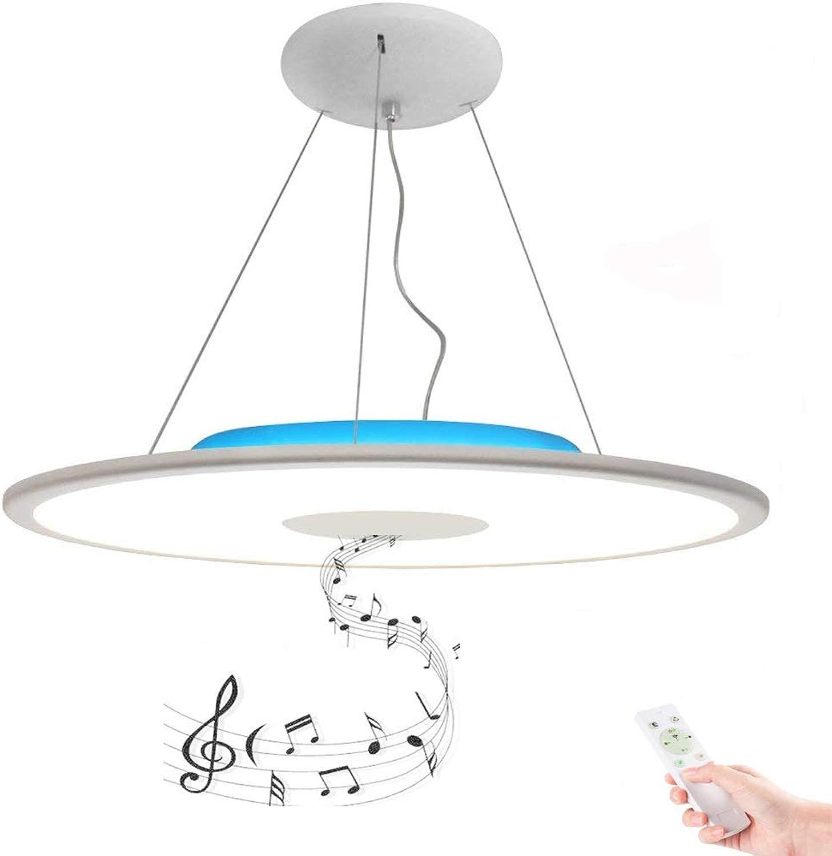 LED Blautooth Deckenlampe Pendelleuchte Dimmbar 36W  50CM Deckenleuchte mit Fernbedienung RGB Kronleuchter mit Zweierlei Blautooth Lautsprecher Weiss Warmweiss für Esszimmer,Wohnzimmer, Schwarz