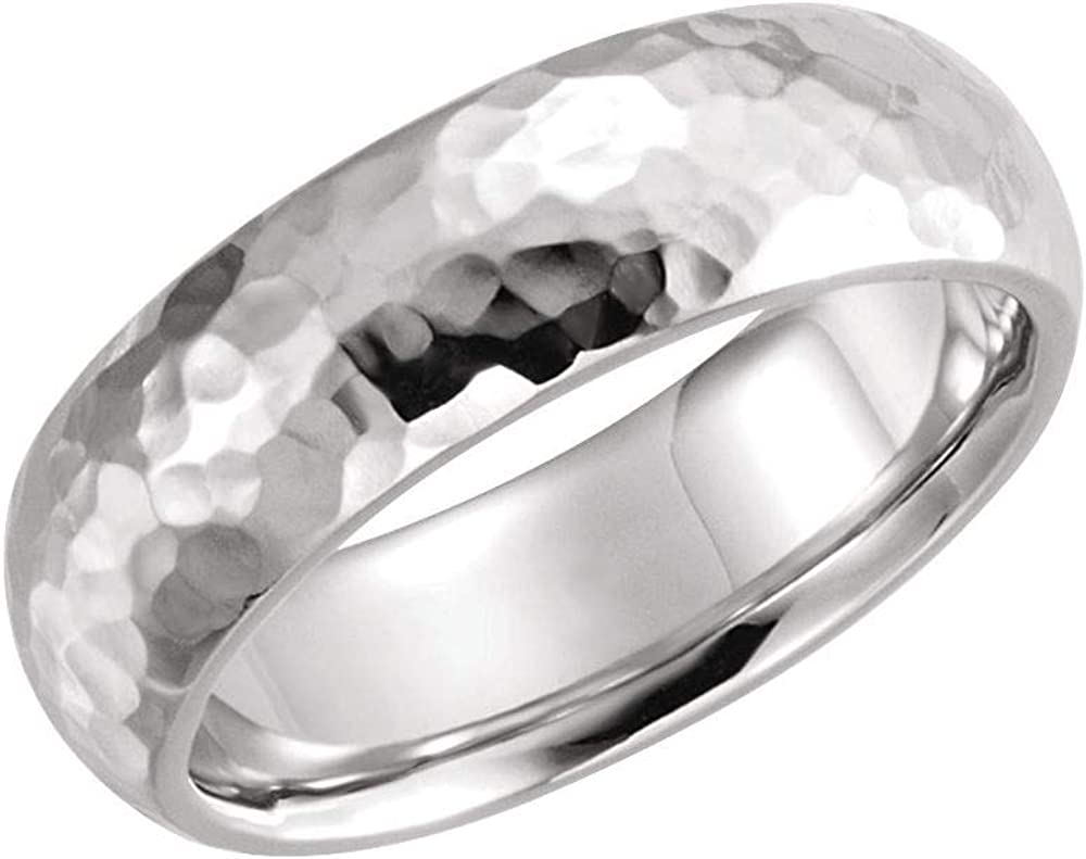 Milgrain Year-end annual account Wedding Band Hammer Finish New product! New type Sterli 925 Comfort Solid Fit