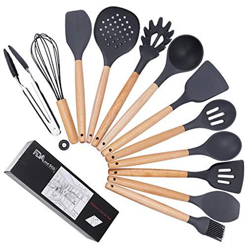 Herramientas de cocina De silicona utensilios de cocina Utensilios de cocina Set - 12 de silicona Natural de madera Utensilios de cocina Set - Utensilios de cocina de silicona Espátula Set Set - silic