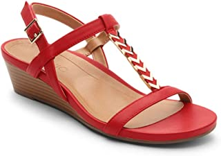 Women's Port Cali T-Strap Sandal - Ladies Demi Wedge Sandals with Concealed Orthotic Arch Support Red 9 Wide US