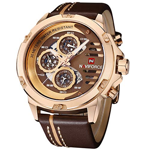 NAVIFORCE Mens Military Watches Sport Waterproof Quartz Leather Casual Date Luxury Wrist Watch Rose Gold