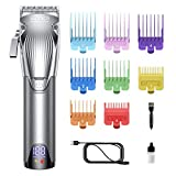 WONER Hair Clippers, Cordless Hair Trimmer with 8 Guard Combs,12-Piece Hair Cutting Kits for Family, Professional Hair Clippers for Men,Valentines Day Gifts for him,Silver