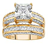 14K Yellow Gold over Sterling Silver Princess Cut Cubic Zirconia Bridal Ring Set Size 7...