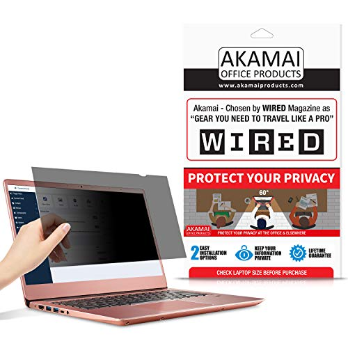 14' Akamai Computer Privacy Screen (16:9) - Black Security Shield - Laptop Monitor Protector - UV and Blue Light Filter