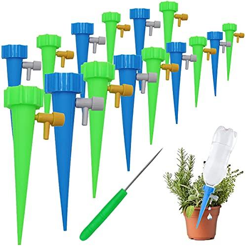 Esteopt Set de riego automático para plantas, sistema de riego ajustable, fácil con interruptor de válvula de control, cuidado de tus plantas de balcón y oficina (15 unidades)