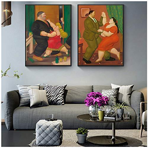 LIUXR Paar Tänzer Fernando Botero Berühmte Figur Leinwand Gemälde Poster Drucke Wandkunst Bilder Wohnzimmer Dekor-20x28 Inchx2 Kein Rahmen