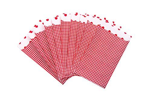 25 stuks rood wit geruit platte papieren zakjes 17,5 x 21,5 + 3 cm klep als geschenktas kersttas adventtas geschenkverpakking kerstmis envelop papieren zakje