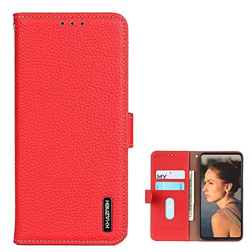 SHIEID Carcasa para Nokia C10/Nokia C20 Funda, Soporte de la Caja del teléfono Premium Flip Folio Carcasa Compatible para Nokia C10/Nokia C20-Rojo