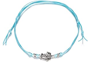 Fashion Turtle Charm Bracelet Handmade Jewelry Black White Wax Rope String Lacing Adjustable Lucky Bracelet For Women Children