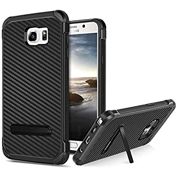 BENTOBEN Phone Case for Samsung Note 5 Case for Galaxy Note 5 with Kickstand Hybrid Hard PC Cover Flexible TPU Bumper Chrome Carbon Fiber Texture Shockproof Protective Case for Samsung Note 5 Black