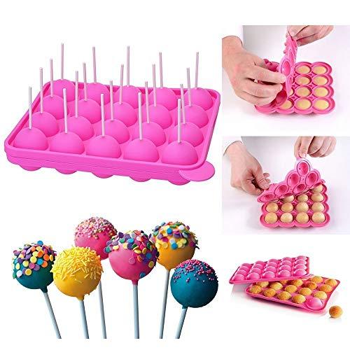 Queta Silikon Cake Pop Backform Cake Pop Formen, 20 runde Formen Silikon Lollipop Form Tablett Cake Silikonform für Cupcakes, Süßigkeiten, Gelee und Schokolade, antihaftbeschichtet, Pink
