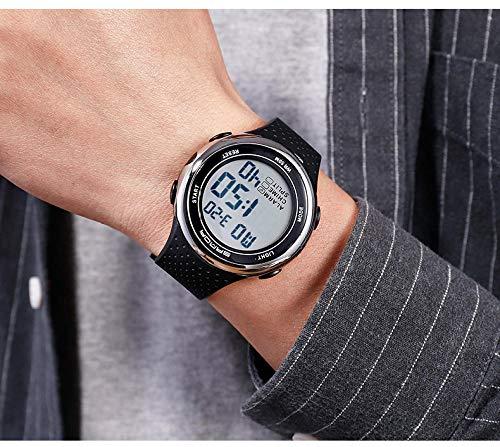 Uhr Damen,Uhr männliche Student Uhr Trend einfache lässige elektronische Uhr Sport wasserdichte leuchtende Uhr-Schwarz und Silber