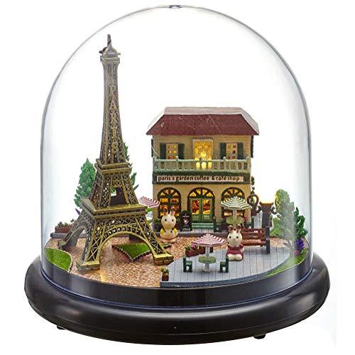 Caja de MúSica Casa Muñecas DIY, Kit de Caja de Música Casa Bricolaje en Miniatura Con Luz LED de Cubierta Transparente, Gran Regalo para Parientes Amantes en Halloween, Navidad(París)