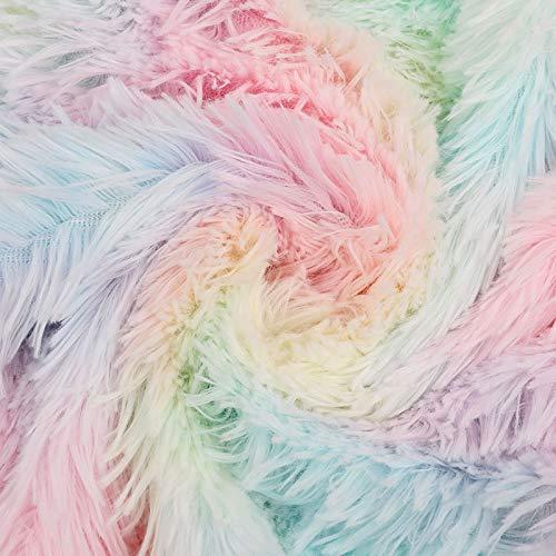 Kesheng Regenbogenfarbener Plüschstoff, 100 % Polyester, Kunstfell, 50 x 150 cm