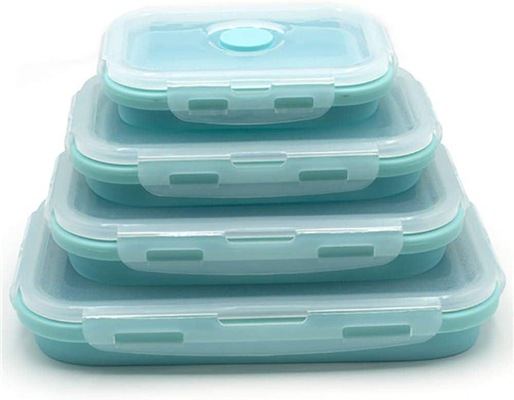 One plus one 4 PCS Caja de Almuerzo de Silicona Cuenco portátil Colorido Plegable Alimento Lunchbox 350/500/800 / 1200ml Ecológico,Azul