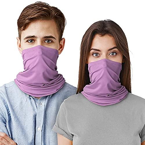 Nescop 2 unids unisex abrigo de cabeza resistente a los rayos UV al aire libre Polaina elástica deportiva diadema multifuncional para correr ciclismo (morado claro)