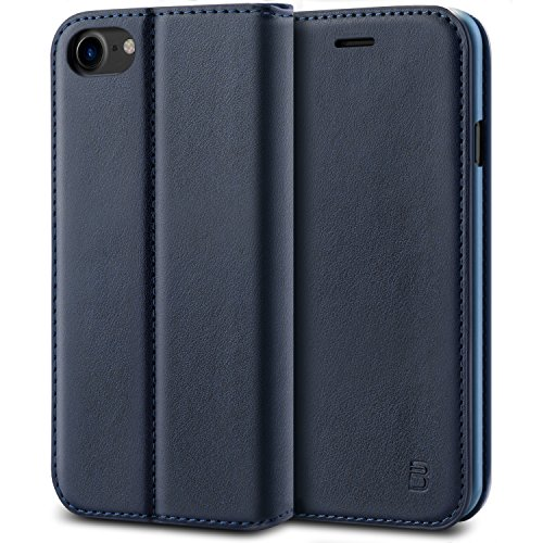 BEZ Cover iPhone 7, iPhone 8, PU Custodia Compatibile per iPhone 7, iPhone 8, Protettiva Portafoglio Flip Cover con Kickstand Fuction, Blu Navy