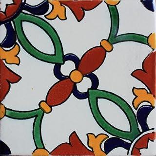 Fine Crafts Imports 4.2x4.2 9 pcs Lattice Santa Barbara Mexican Tile