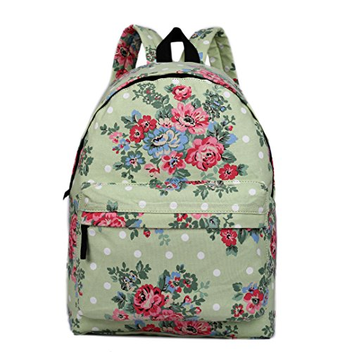 Miss Lulu Backpack Rucksack Travel Camping Print School Bags for Teenager Girls (Floral Green) E1401F GN